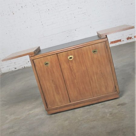 Vintage Mid-Century Campaign Style Rolling Dry Bar by Drexel Heritage