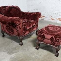 Hancock and Moore Burgundy Sculpted Mohair Lounge Chair and Ottoman