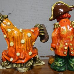 Vintage Pair of Papier Maché Clown Sculptures by Jeanne Valentine circa 1960