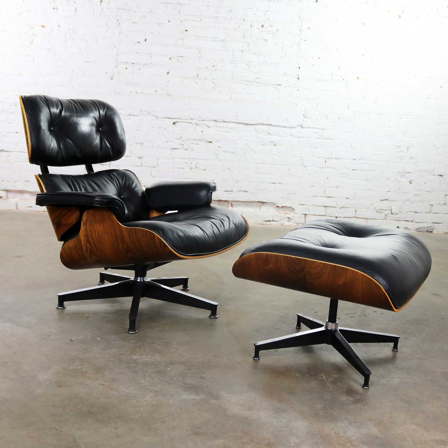 Image of: Vintage Eames Lounge Chair Ottoman In Black Leather Rosewood For Herman Miller Warehouse 414