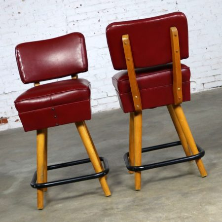 Pair Mid Century Red Vinyl and Blonde Counter Height Bistro Bar Stools by WCI