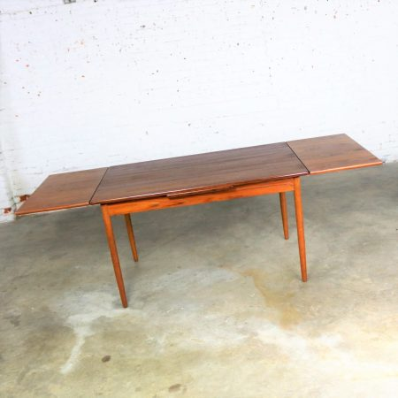 Mid Century Scandinavian Modern Teak Rectangular Draw Leaf Extending Dining Table