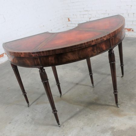 Federal Style Mahogany and Leather Flip Top Demilune Console or Game Table by Weiman