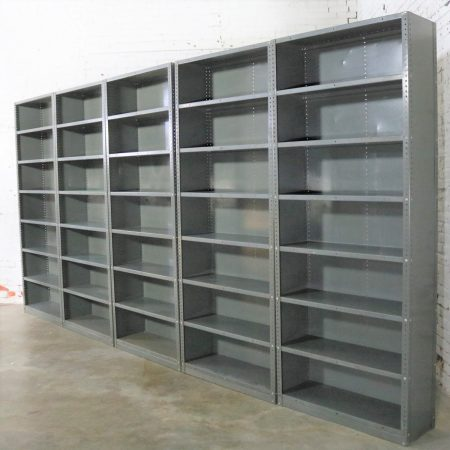 Industrial Steel Bookcase Shelving Painted Great Patina Vintage