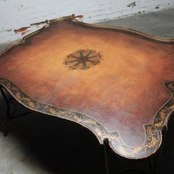 Vintage Gilded Iron Faux Bois Coffee Table with Tole Painted Tray Style Top