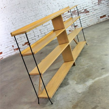 Mid Century Modern Minimalist Iron and Blonde Oak Bookcase Shelf Unit Room Divider