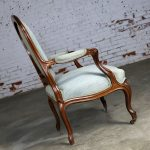 Antique Victorian Walnut and Upholstered Open Arm Chair
