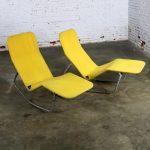 Pair Bartolucci-Waldheim Barwa Lounge Chairs Aluminum and Yellow Canvas