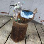 Ceramic Bird Sculpture on Wood Perch by Rosemary Laughlin Bashor