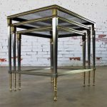 Brass & Stainless Nesting Tables w/Mirror Edged Glass Tops