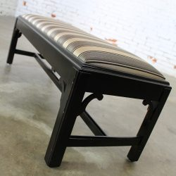 Vintage Black Chinese Chippendale Bench with Black & Gold Stripe Upholstery