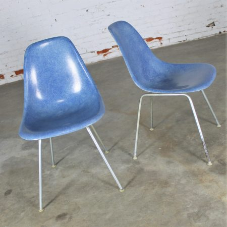 Vintage Pair Herman Miller Eames Molded Fiberglass DSX Side Chairs with H Base in Royal Blue