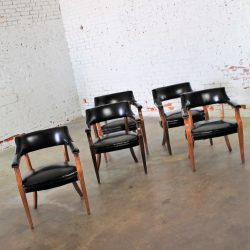 Vintage Walnut & Black Faux Leather Captain Chairs with Nailhead Detail set of 5