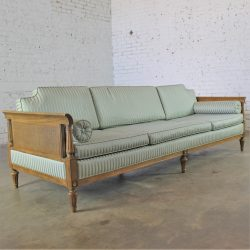 Vintage Hollywood Regency Neoclassic Sofa w/Caned Sides
