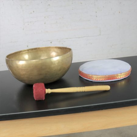 Vintage Bronze Hand Made Singing Bowl or Standing Bowl with Mallet on Pillow