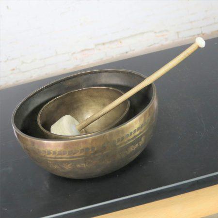 Vintage Set of 2 Bronze Nesting Incised Singing Bowls or Standing Bowls with Mallet