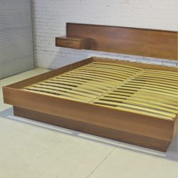 Vintage Scandinavian Modern Teak King Platform Bed with Attached Night Stands
