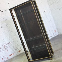 Vintage Dark Wood Etagere Bookcase with Brass Trim and Glass Shelves