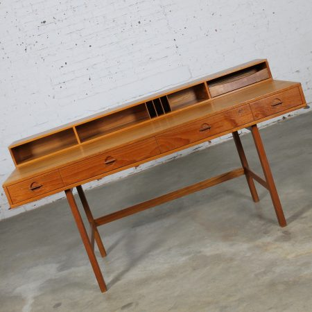Vintage Mid Century Danish Modern Peter Løvig Nielsen Teak Flip Top Partner's Desk