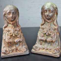 Antique French Cast Iron Female Figural Andirons or Firedogs