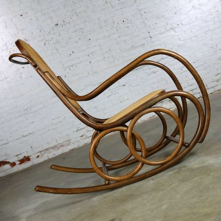Vintage Stendig Bentwood and Cane Rocker Double Circle Design with Handle by Thonet