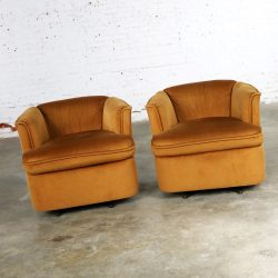Pair of Drexel Swivel Barrel Shaped Club Chairs in Burnt Orange Velvet