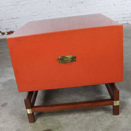 Vintage Red Campaign Style End Table with Drawers & Door & Brass Detail by Hickory