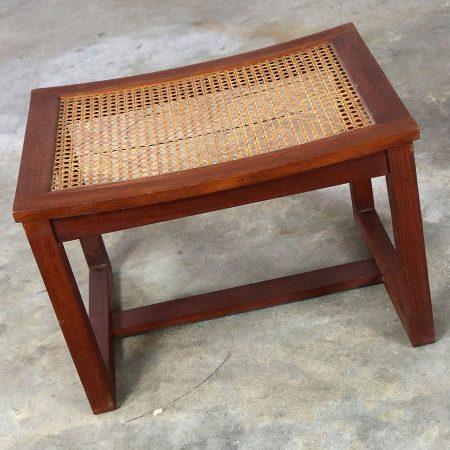 Mid Century Scandinavian Modern Teak and Cane Bench Stool Ottoman