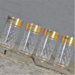 Four Vintage Mid Century Hollywood Regency Glass Tumblers w/ Gold Embossing and Raised Teardrop Design