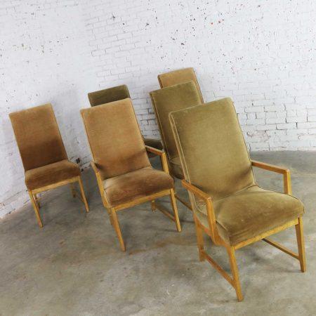 6 Modern Style Vintage Dining Chairs Velvet Scoop Seats Bernhardt Flair for Hibriten