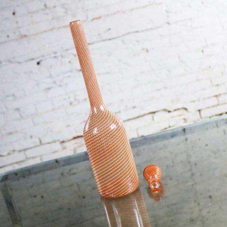 Murano Orange & Green Fasce Ritorte Bottle Attributed to Gio Ponti for Venini