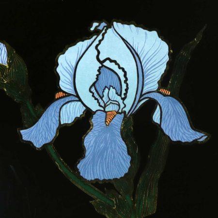 Pair of Vintage Mid-Century Modern Couroc of Monterey Black Trays with Blue Iris