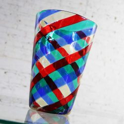 Fasce Ritorte Red Blue Green Murano Glass Vase Attributed to Fulvio Bianconi for Venini