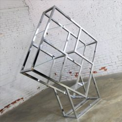 Modernist Geometric Diamond Shaped Chrome Étagère