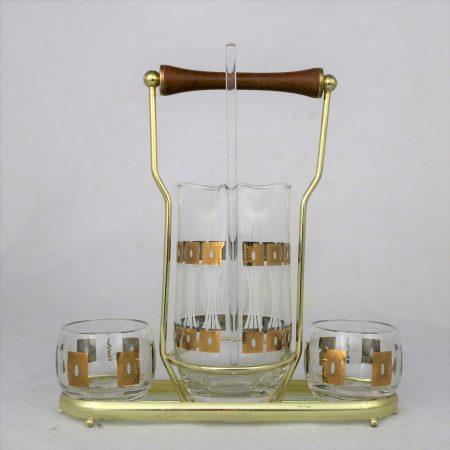 Vintage Mid-Century Modern Fred Press Glass Cocktail Caddy Set in Sun Block Pattern
