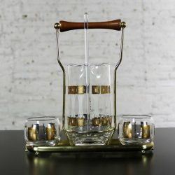 Vintage Mid-Century Modern Fred Press Glass Cocktail Caddy Set in Sun Block Pattern