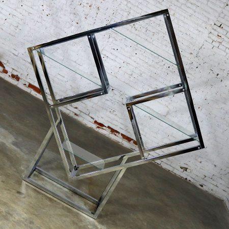 Modernist Geometric Diamond Shaped Chrome Étagère