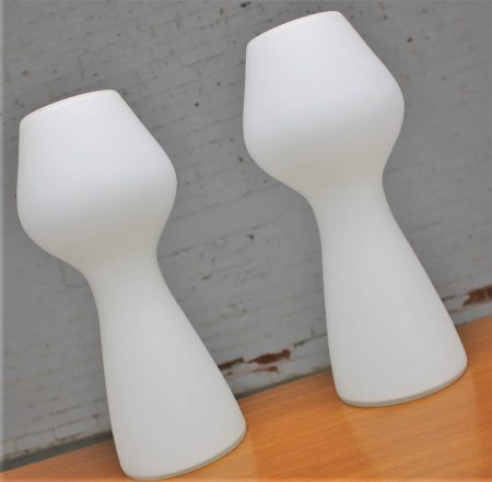 Opaque White Glass Bulbous Mushroom Lamps Style of Lisa Johansson-Pape for Orno Stockmann Vintage Mid Century Modern