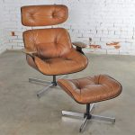 Mid Century Modern Plycraft Eames-Style Lounge Chair & Ottoman Saddle Color