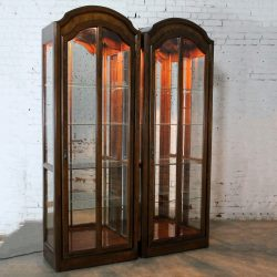 Lighted Curio Cabinets with Arched Top in Dark Wood a Vintage Pair
