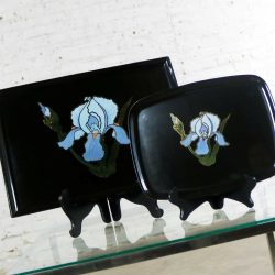Pair of Vintage Mid-Century Modern Couroc of Monterey Black Trays with Blue Iris
