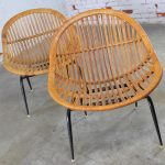 Pair of Mid Century Modern Rattan Wicker Basket Chairs by Troy Sunshade Company