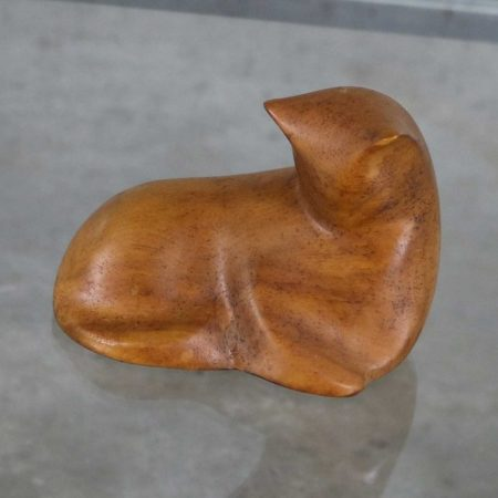 Hand Carved Wood Mid Century Modern Cat Sculpture Signed Luman Kelsey