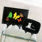 Pair of Vintage Mid-Century Modern Couroc of Monterey Black Trays Cats & Butterflies