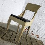 Art Deco Accent Side Chair Distressed Gray Finish & Black Leather Seat