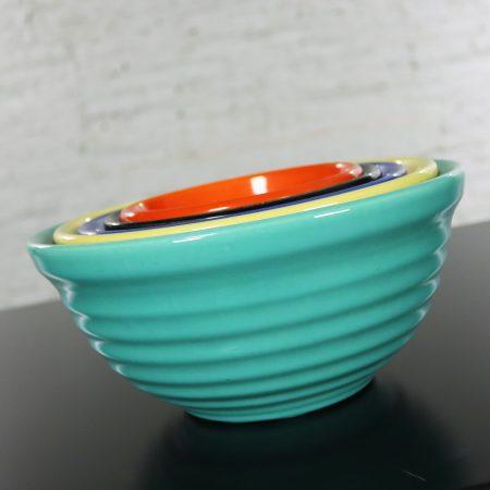 Vintage Set of Five Bauer Multi-Color Ringware Nesting Mixing Bowls