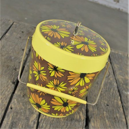 Yellow Daisy Ice Bucket by West Bend Thermo Serv Vintage Mid Century Modern