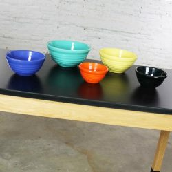 Vintage Set of Five Bauer Multi-Color Ringware Nesting Mixing Bowls