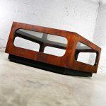MCM Lane Alta Vista Hexagon Coffee Table Walnut and Smoked Glass Style 1121 04
