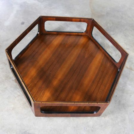 MCM Lane Alta Vista Hexagon Coffee Table Walnut and Smoked Glass Style 1121 04
